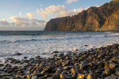Cliffs of Los Gigantes at sunset Stock Photo