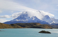Cliffs of Los Kuernos and Lake Pehoe in National Park Torres del Paine Royalty Free Stock Photography