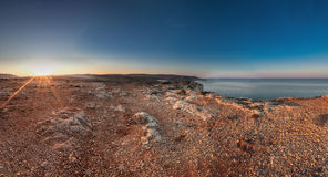 Cliffs of Majjistral Point. Sunrise at Majjistral Park in Malta royalty free stock images
