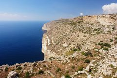 Cliffs in Malta. View of the Dingli Cliffs in Malta Stock Images