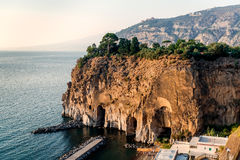 Cliffs at Marina di Cassano. Piano di Sorrento. Italy Royalty Free Stock Photos
