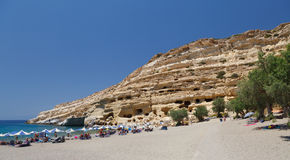 Famous Beach Matala, Greece Crete Stock Image