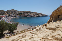 Famous Beach Matala, Greece Crete Royalty Free Stock Images