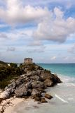 Cliffs with Mayan Ruins above the Ocean at Tulum. View of the Cliffs with Mayan ruins above the ocean at Tulum, Quintana Roo, Mexico royalty free stock photography
