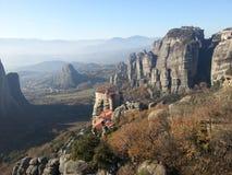 Cliffs of Meteora, Greece stock photo