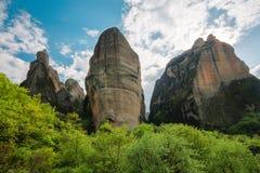 Cliffs in Meteora, Greece Stock Photo
