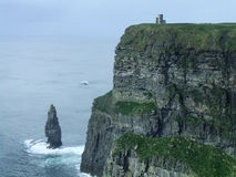 Cliffs of Moher. The Cliffs of Moher in Ireland with O'Brians Tower on top of the rocks Stock Images