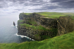 Lush grass in Ireland. Dramatic view of Cliffs of Moher against stormy sky in Ireland Royalty Free Stock Photography