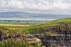 Cliffs of Moher. The top of the Cliffs of Moher in Ireland with a river and valley behind them Stock Photos