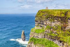 Cliffs of Moher. The 214-metre high Cliffs of Moher in County Clare are Ireland`s most visited natural attraction stock photography