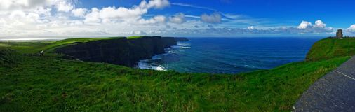 Cliffs of Moher panorama. Cliffs of Moher at the Atlantic Ocean, West coast of Ireland, hight resolution panorama royalty free stock photos