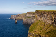 Cliffs of Moher in Co. Clare, Ireland. The Cliffs are 214m high at the highest point and range for 8 kilometres over the Atlantic Ocean on the western seaboard Royalty Free Stock Photos