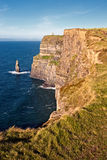 Cliffs of Moher in Co. Clare, Ireland. The Cliffs are 214m high at the highest point and range for 8 kilometres over the Atlantic Ocean on the western seaboard Stock Photography