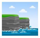 Cliffs of Moher in County Clare. Famous Irish sight. Travel to Ireland. Vector flat illustration Stock Illustration