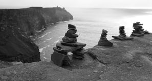Cairns on Cliffs of Moher stock photography