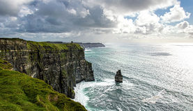 Cliffs of Moher. The Cliffs of Moher in County Clare are one of the tallest sea cliffs in Ireland and is a popular tourist destination Stock Image