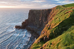 Cliffs of Moher in golden light. Picture taken of the famous rock walls of the Cliffs of Moher on the west coast of Ireland at sunset Royalty Free Stock Image