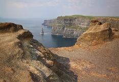 The Cliffs of Moher, Ireland. The Cliffs of Moher (Ireland) on a day of mist stock image