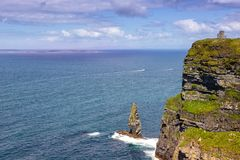 Cliffs of Moher Ireland with Aran Islands travel traveling sea o. Cean Atlantic Royalty Free Stock Image