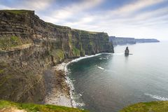Cliffs of Moher in Ireland. At cloudy day, Co. Clare Royalty Free Stock Photos