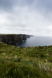 The cliffs of Moher. Cliffs of Moher in Ireland in a cloudy day Royalty Free Stock Photos