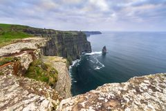 Cliffs of Moher in Ireland. At cloudy day, Co. Clare Stock Image
