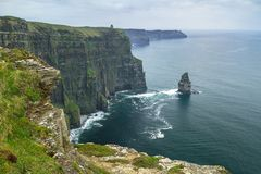Cliffs of Moher in Ireland. At cloudy day, Co. Clare Stock Photography