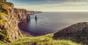Beautiful scenic irish countryside landscape from the cliffs of moher ireland. Cliffs of moher in ireland county clare Stock Photos