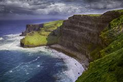 Cliffs of Moher in Ireland. Are sea cliffs located at the southwestern edge of the Burren region in County Clare and south of Galway, Ireland Stock Photos