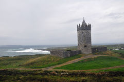 Cliffs of Moher Ireland. Small tower near Cliffs of Moher, Ireland with Aran islands on the horison Royalty Free Stock Photo