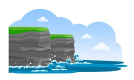 Cliffs of Moher. Irish attraction. Travel to Ireland. Vector flat illustration Royalty Free Illustration