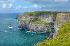 Scenic view of Cliffs of Moher, one of the most popular tourist attractions in Ireland, County Clare. Royalty Free Stock Photo