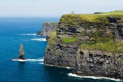 Cliffs of Moher, North Ireland sea coastline, sunny summer landscape Royalty Free Stock Photos