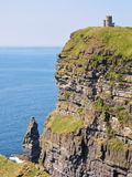 Cliffs of Moher. OBriens Tower. Royalty Free Stock Photo