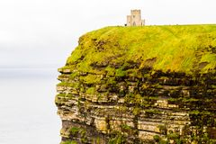 Cliffs of Moher and OBriens Tower Ireland. Beautiful landscape at the famous Cliffs of Moher and  O`Brien`s Tower in Co. Clare, Europe, ireland Royalty Free Stock Images