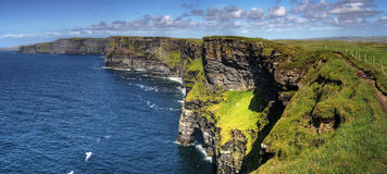 Cliffs of Moher panoramic. Cliffs of Moher - highest cliffs in Europe Royalty Free Stock Image