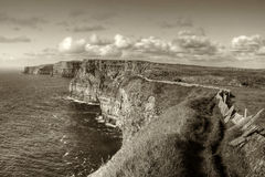 Cliffs of Moher in sepia Stock Image