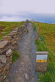 Cliffs of Moher stone walled Walking Path Stock Image