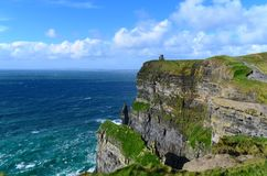 Cliffs of Moher on sunny day royalty free stock photography