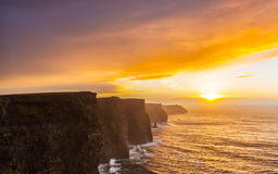 Cliffs of Moher at sunset in Co. Clare Ireland Stock Images