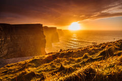 Cliffs of Moher at sunset in Co. Clare, Ireland Europe. Famous cliffs of Moher at sunset in Co. Clare Ireland Europe. Beautiful landscape natural attraction Stock Photography