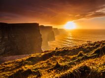 Cliffs of Moher at sunset in Co. Clare, Ireland Europe. Famous cliffs of Moher at sunset in Co. Clare Ireland Europe. Beautiful landscape natural attraction Royalty Free Stock Image