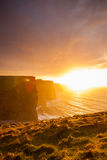Cliffs of Moher at sunset in Co. Clare Ireland Europe. Stock Photo