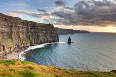 Cliffs of Moher at sunset in Irelnad. Stock Photography