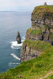 Cliffs of Moher with tower Royalty Free Stock Photos