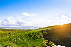 Cliffs of Moher, west coast of Ireland, County Clare at wild atlantic ocean. Royalty Free Stock Image