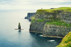 Cliffs of Moher, west coast of Ireland, County Clare on wild Atlantic ocean. Photo of a beautiful scenic sea and sky landscape. View of ocean scenery. Lightly Stock Photography