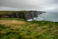 Cliffs of Moher in Western Ireland. Cliffs of Moher Overlook the Atlantic Ocean in Western Ireland royalty free stock photography