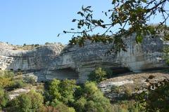 Cliffs of the mountainous Crimea. White limestone rocks in the Mountain Crimea Stock Photo