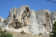 Cliffs of the mountainous Crimea. White limestone rocks in the Mountain Crimea Royalty Free Stock Photos